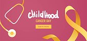 Childhood cancer awareness banner with stethoscope with yellow ribbon symbol.