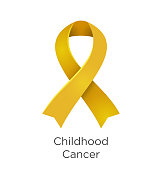 Childhood Cancer awareness month in September. Gold color ribbon Cancer Awareness Products. Vector illustration. White isolated.