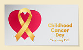 Childhood Cancer Day theme. Postcard or banner with a heart cut out in paper, a gold ribbon and resembling an inscription. Vector illustration