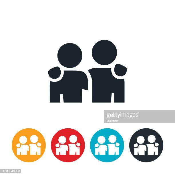 childhood friends icon - male friendship stock illustrations