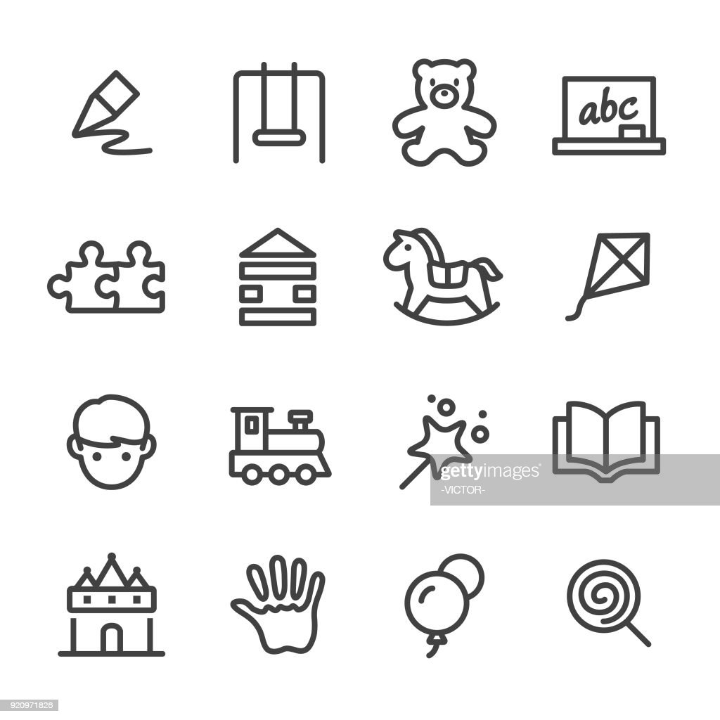 Childhood Icons - Line Series : stock illustration