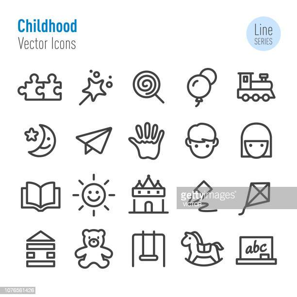 stockillustraties, clipart, cartoons en iconen met jeugd icons - vector line serie - kindertijd