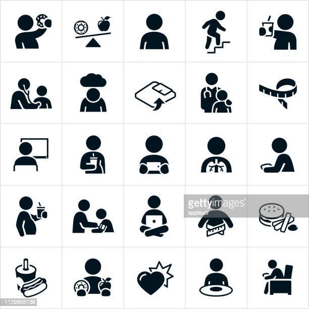 ilustraciones, imágenes clip art, dibujos animados e iconos de stock de iconos de la obesidad infantil - obesidad infantil