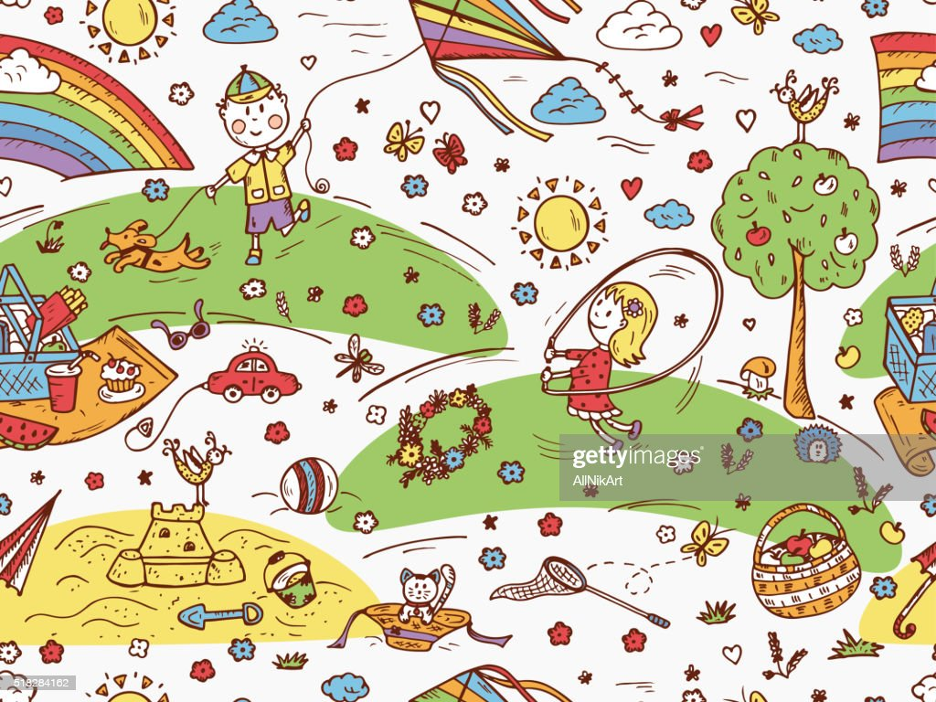 Childhood seamless pattern. Children Outdoor Activities. Summer holidays. Kids vacation