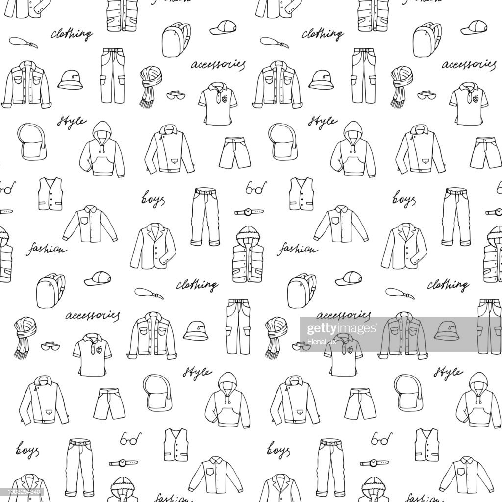 Childish boy clothe and lettering doodle seamless pattern