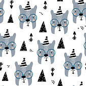 Childish seamless pattern with cute bear faces, mountains and arrows. Trendy scandinavian vector background. Perfect for kids apparel,fabric, textile, nursery decoration,wrapping paper
