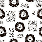 Childish seamless pattern with lions and abstract shapes. Trendy scandinavian vector background. Perfect for kids apparel,fabric, textile, nursery decoration,wrapping paper