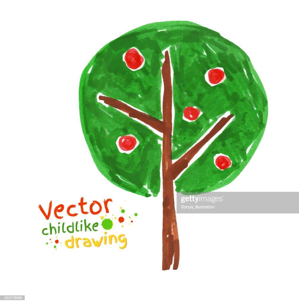 Childlike drawing of apple tree.
