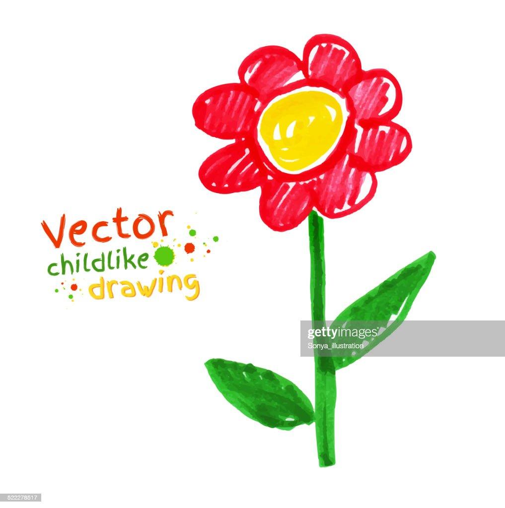 Childlike drawing of flower.