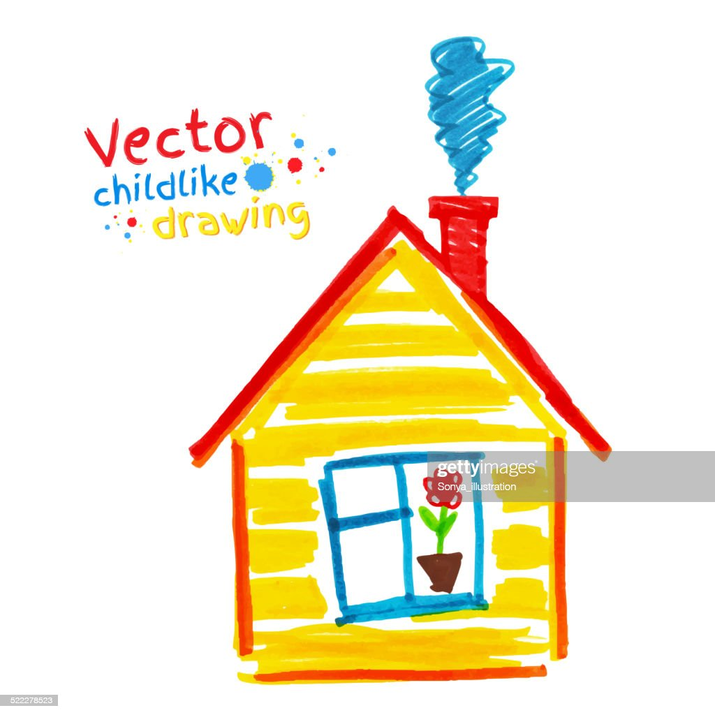Childlike drawing of house.