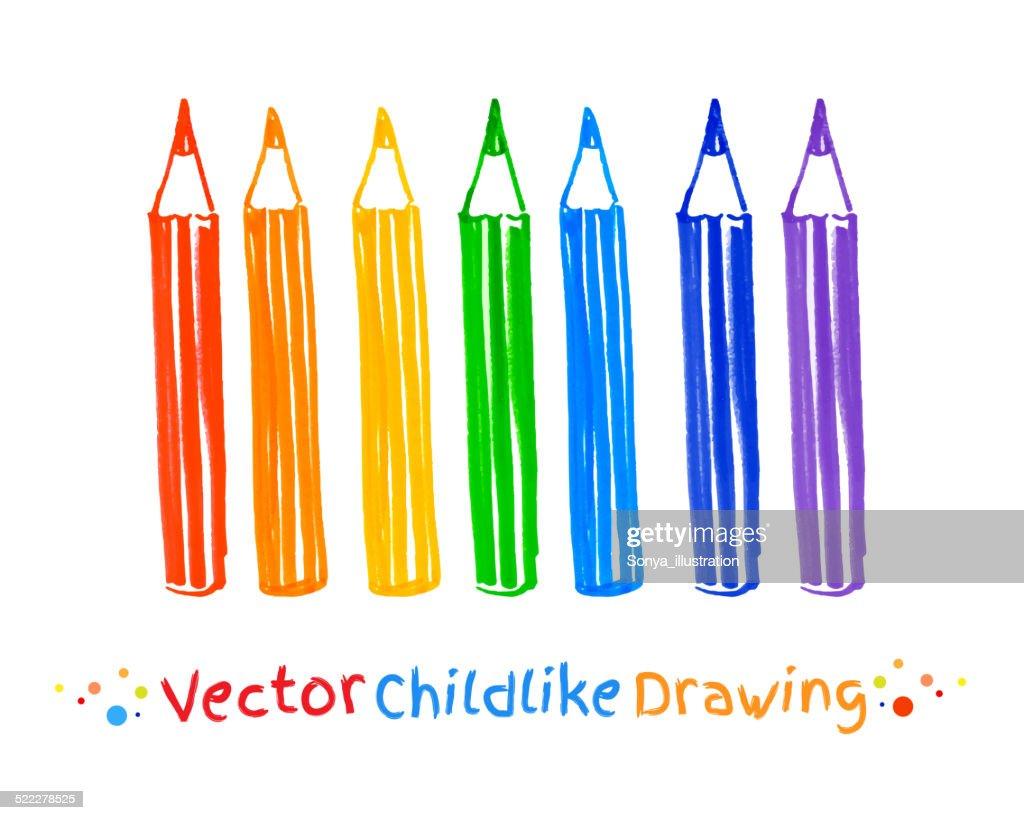 Childlike felt pen drawing of pencils.