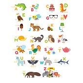Children alphabet with cute cartoon animals