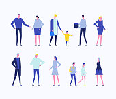 Children and adults - flat design style set of isolated characters