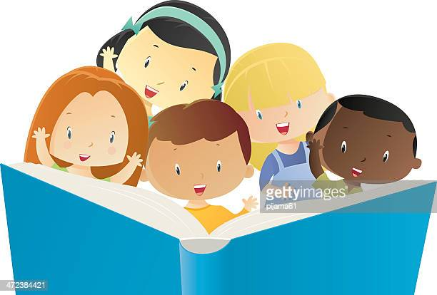 children and book - reading stock illustrations
