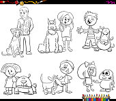 children and dog characters color book