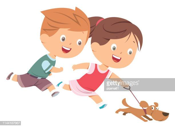 children and dog - dog leash stock illustrations, clip art, cartoons, & icons
