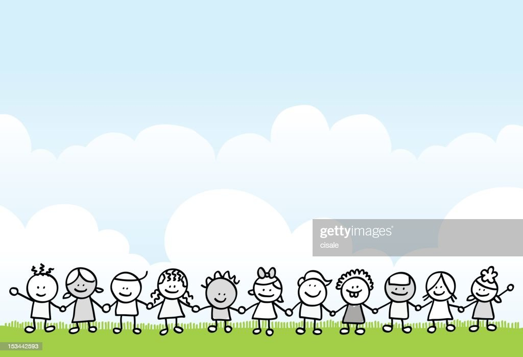 children and nature cartoon illustration