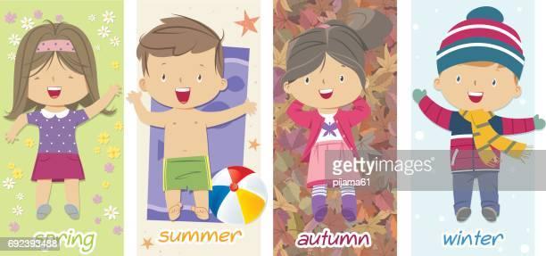ilustraciones, imágenes clip art, dibujos animados e iconos de stock de los niños y las estaciones - las cuatro estaciones