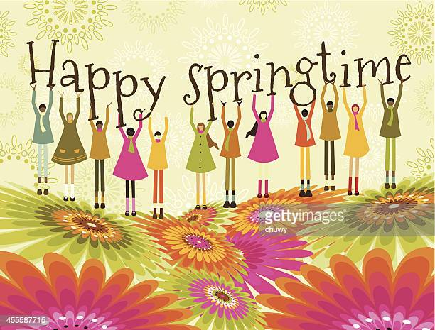 Children and spring background