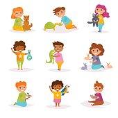 Children and their pets. Vector. Cartoon