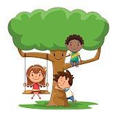 Children and tree