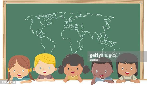 Children and World's Map
