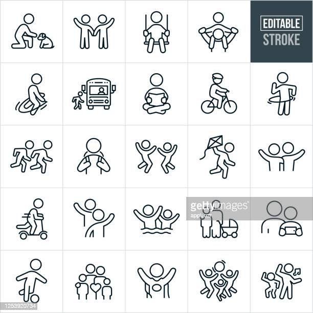 children and youth thin line icons - editable stroke - cape garment stock illustrations