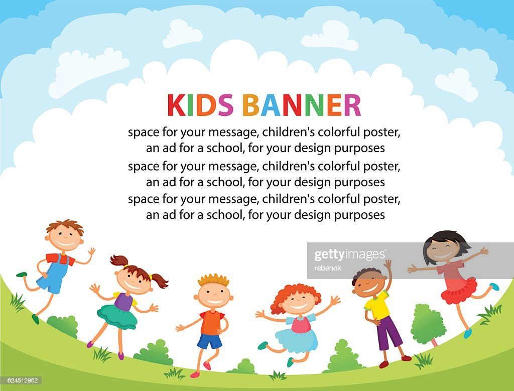 children are jumping on the glade, bunner cartoon funny vector