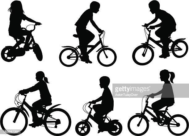 children bicycle - family cycling stock illustrations, clip art, cartoons, & icons