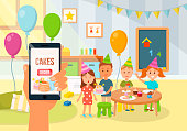 Children Birthday Party. Vector Flat Illustration.