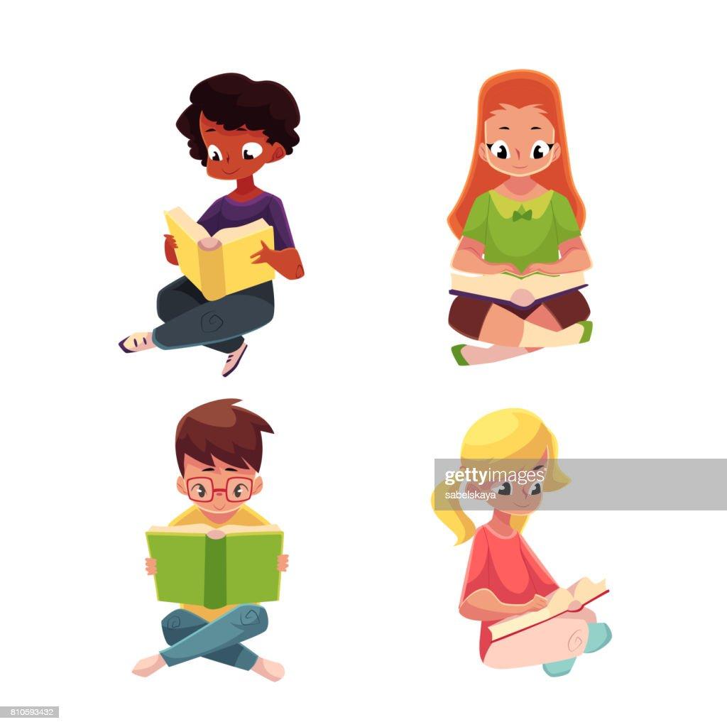 Children, boys and girls, reading interesting book sitting on floor