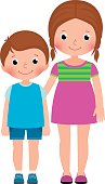 Children brother and sister stand in full length vector cartoon illustration