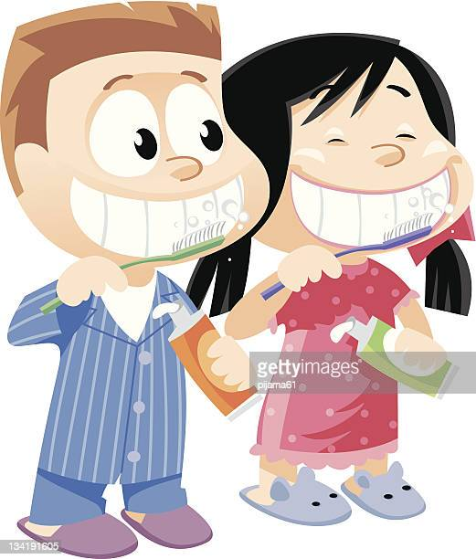 children brushing teeth - human teeth stock illustrations
