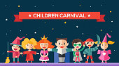 Children carnival - flat design characters website banner