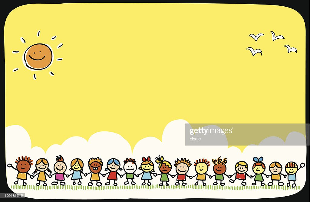 children cartoon illustration, summer nature