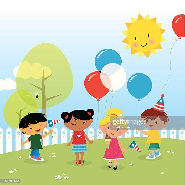 Children celebrating 4th July