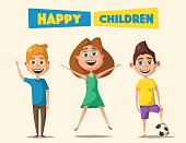 Children character. Cartoon vector illustration