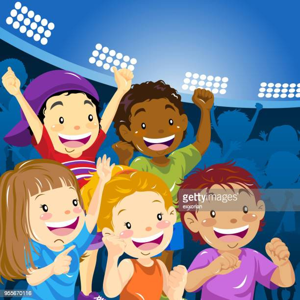 children cheer up in stadium - applauding stock illustrations, clip art, cartoons, & icons