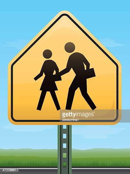 children crossing road sign - crossing sign stock illustrations, clip art, cartoons, & icons