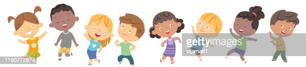 children dancing - child stock illustrations