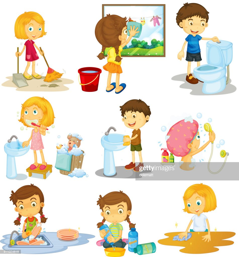 Children doing different chores