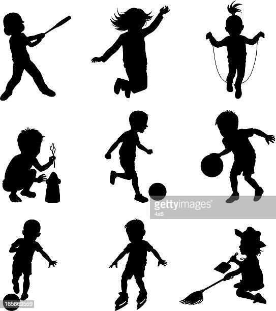 children doing different sports activities - jump rope stock illustrations, clip art, cartoons, & icons