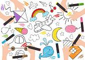 children draw on paper