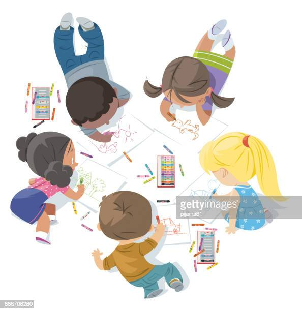 children draw together - painting activity stock illustrations, clip art, cartoons, & icons