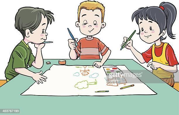 children draw - painting activity stock illustrations, clip art, cartoons, & icons