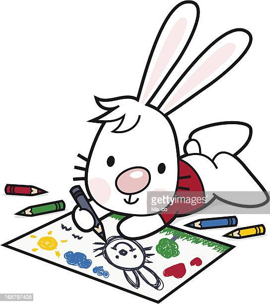 Children drawing/ cartoon bunny paints with colored pencils