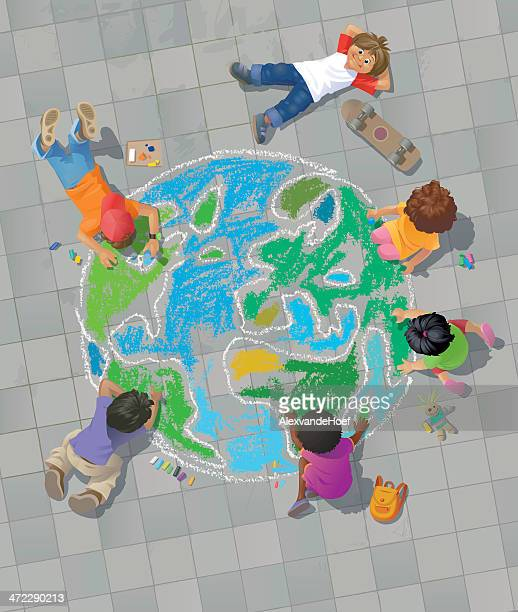 children drawing the world on street - recreational pursuit stock illustrations, clip art, cartoons, & icons