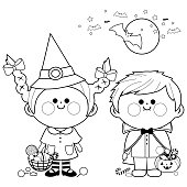 Children dressed in Halloween costumes hold buckets with candy. Black and white coloring book page