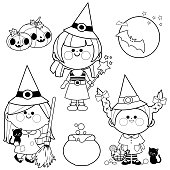 Children dressed in Halloween witch costumes. Black and white coloring book page