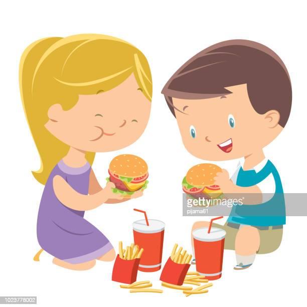 children eating hamburgers - hamburger stock illustrations, clip art, cartoons, & icons